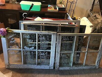 Vintage white wood window with 6 pane glass used in wedding.