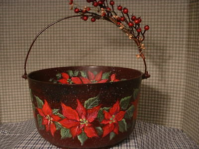Vintage Wagner Aluminum Kitchen Kettle Christmas Poinsettias Painted Art By Jmd