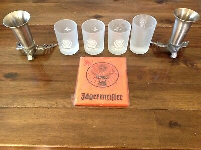 JAGERMEISTER Lot Of 5 Shot Glasses Frosted Glass with Coaster