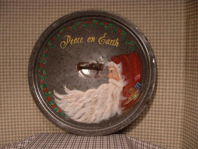 Vintage Grey Graniteware 14 1/2 Inch Lid Christmas Santa Hand Painted Art By Jmd