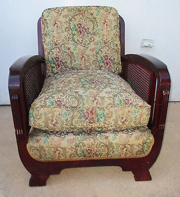 Classic 1940's Art Deco Arm Chair With Cushions.  Very Solid. Opt. 2