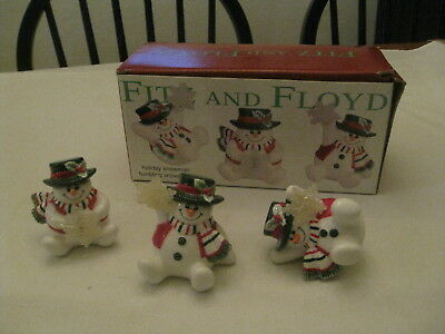 Christmas Fitz and Floyd Holiday Tumbling Snowmen Figurines Set of 3 with box