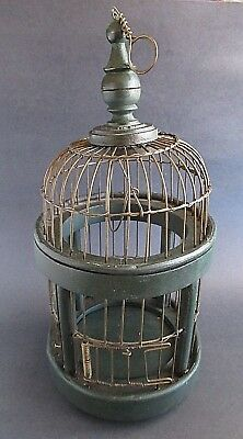 """Vintage Rustic Wood and Metal Wire Domed Decorative Bird Cage 13"""""""