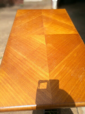 Beautiful Art Deco Timber Dining Table with Glass Top