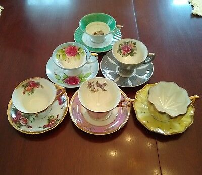 Vintage Japan Lusterware Lot Of 6 Cup And Saucer Sets Royal Sealy