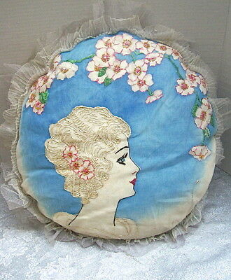 CIRCA 1920s EMBROIDERED with BEADWORK BOUDOIR PILLOW - LADY in PROFILE & FLOWERS