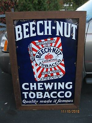 Vintage BEECHNUT Chewing Tobacco Sign Porcelain Tobacco Sign 1930's