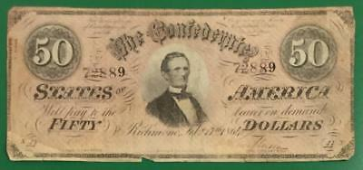 1864 $50 US Confederate States of America! Rough! Old US Paper Money Currency