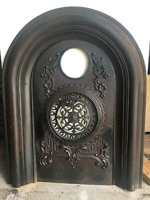 ANTIQUE CAST IRON FIREPLACE SURROUND WITH SUMMER COVER Signed James L Jackson