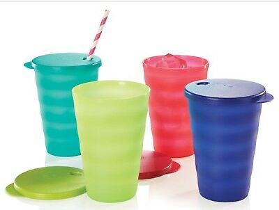 TUPPERWARE ALFRESCO LARGE 500ml TUMBLERS SET (4) & DRIPLESS SEALS 4-COLOURS NEW