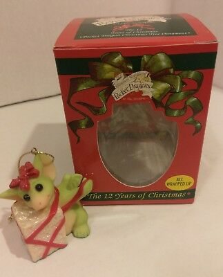Goebel Pocket Dragons All Wrapped Up  Ornament