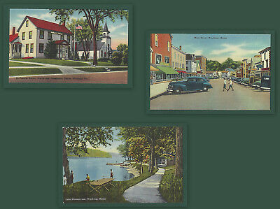 Lot of 3 Winthrop ME Vintage Linen PCs St Francis Xavier Main St Lake Maranacook