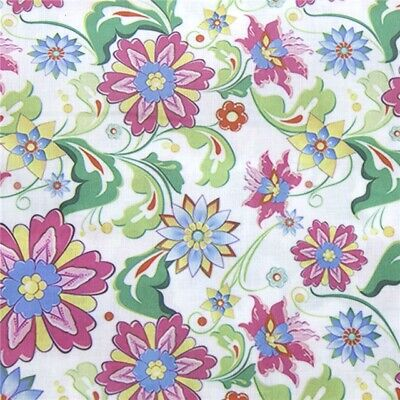 Fabric Bright Coloured Floral Flowers Print Polycotton Blend 50X145Cm/20 X 58In