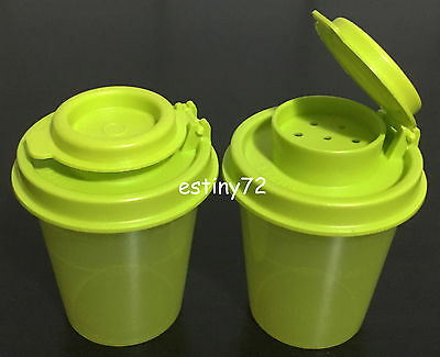 Tupperware Midgets Salt N Pepper Spice Shakers Set (2) Salsa Verde Green New