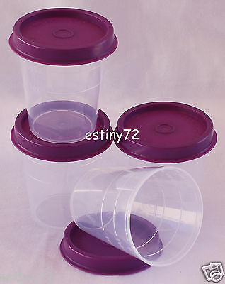 Tupperware Minis / Midgets Set (4) Clear & Grape Purple Seals New