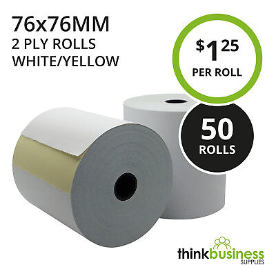 50 x 2 Ply 76x76mm White/Yellow Bond Paper Rolls for Kitchen Register Receipts