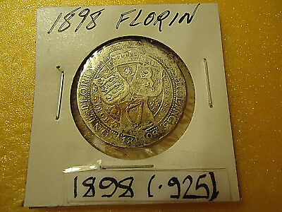 1898 British Florin Coin  **.925 Silver**  >>Combined Shipping<<