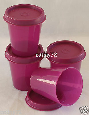 Tupperware Minis / Midgets Set (4) Rhubarb Purple New