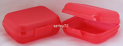 Tupperware Medium Oysters / Packables Keepers Set (2) Crushed Raspberry Red New