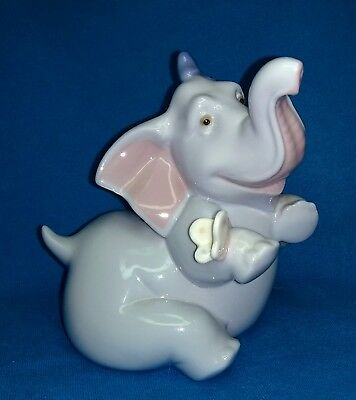 RARE Lladro Nao Elephant ~Don't tell anybody~ Whimsical Blue Bow and Butterfly ~
