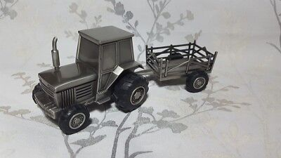 Pewter money box - tractor and trailer