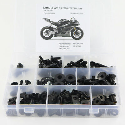 Complete Fairing Bolts Screws Fasteners Kit For Yamaha YZF R6 2006 2007 R6 Black