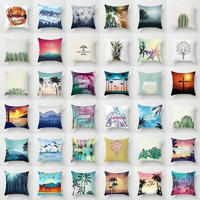 18'' Polyester Waist Throw Pillow Case Sofa Coconut tree Cushion Home Cover