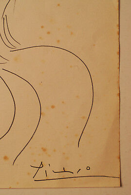 PABLO PICASSO - INK DRAWING ON PAPER, Art, Signed Artwork, vintage
