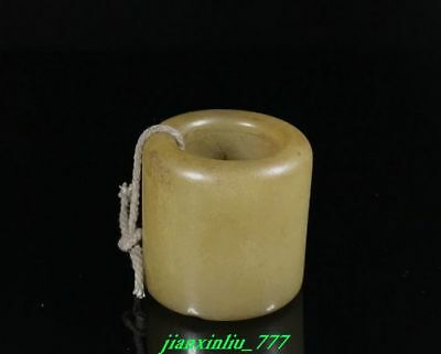 Chinese Exquisite hand-carved natural old jade ring fingerstall