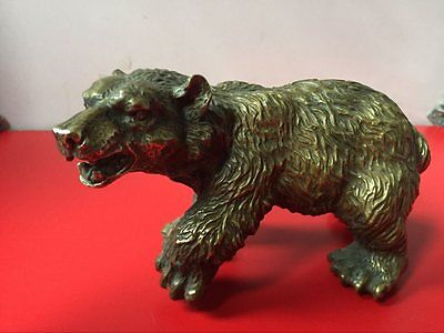 Rare Chinese Old Brass Collection Handmade Carved black bear Statue bronze hot
