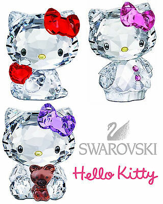 swarovski hello kitty originali gatto cristallo crystal figurine fiocco rosa