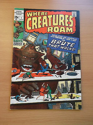 Marvel: Where Creatures Roam #1, All Kirby/ditko Reprints, 1970, Fn+ (6.5)!!!