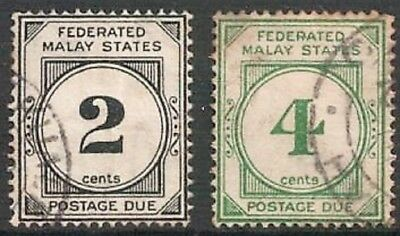 FEDERATED MALAY STATES 1924 Postage Dues 2 Values Good Used LH