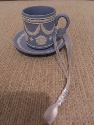 Wedgwood Blue Jasper Tea Cup and Saucer Xmas Decoration - New and Unboxed
