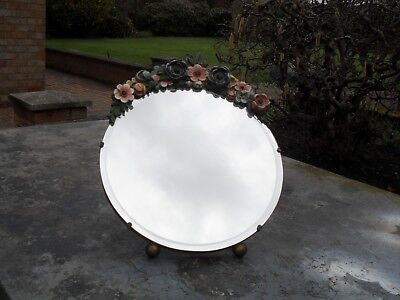 Really Beautiful Antique Or Vintage Plate Glass Decorated Mirror