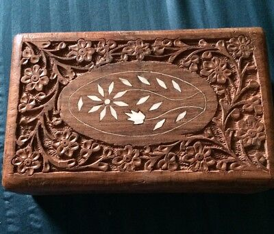 Vintage Hand Carved Wooden Box Inlay Shell Floral Blue Liner Jewelry Trinket