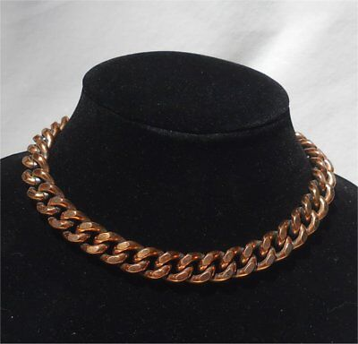 """Vintage Solid Copper Heavy Chunky 15"""" Choker Necklace"""