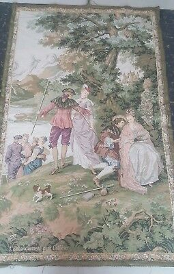 "Antique 19c Aubusson French woven Tapestry Beautiful Color  size 52""x33cm132x84"