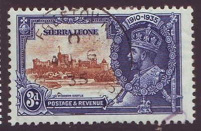 "SIERRA LEONE - 1935 KGV 3d with ""EXTRA FLAGSTAFF"" variety VF USED SG 182a(F974)"