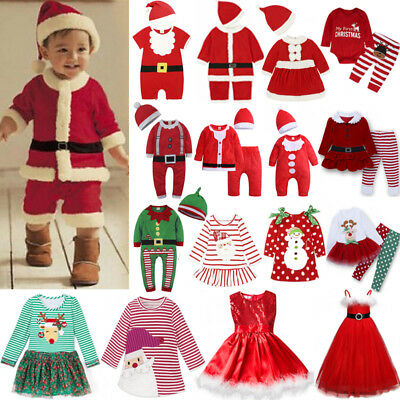 Infant Baby Boy Girl Christmas Santa Romper Tutu Outfit Dress Clothes Costume