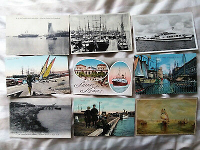 70 Old Foreign Postcards of BOATS & SHIPS - Steam Ships YACHTS Fishing Boats etc