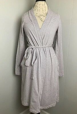 Bump in The Night Pink Grey Maternity, Nursing Robe Soft With Pockets Size Small