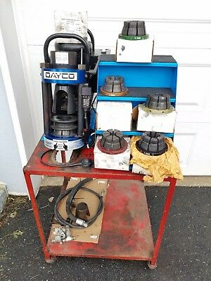 Dayco D105DC Hydraulic Hose Crimper Machine, Pump, Manuals, 6 Dies Mobile base