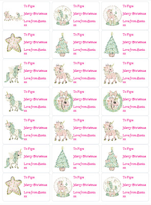 21 Personalised Magical Xmas Unicorn Stickers/Labels Presents