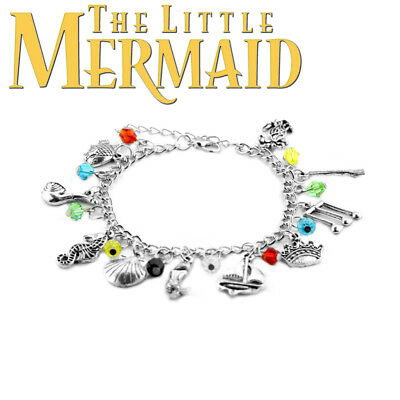 Disneys The Little Mermaid 10 Themed Charms Assorted Metal Charm Bracelet