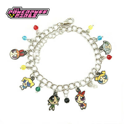 Powerpuff Girls (6 Themed Charms) Assorted Metal Charm Bracelet
