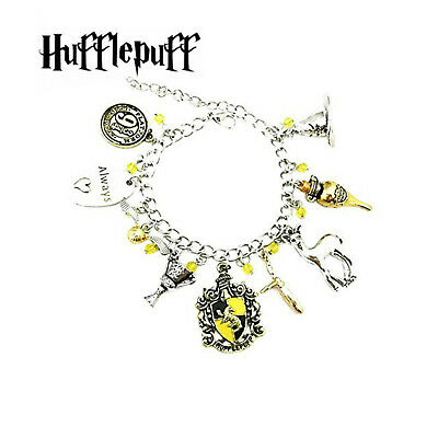 Harry Potter Hufflepuff (9 Themed Charms) Assorted Metal Charm Bracelet