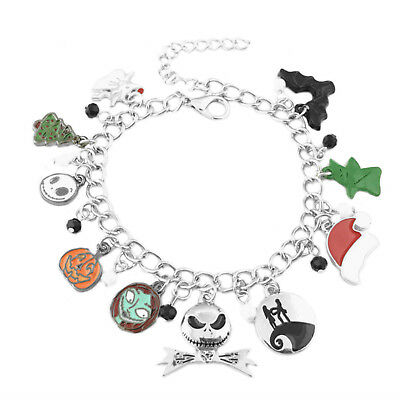 Nightmare Before Christmas (10 Themed Charms) Assorted Metal Charm Bracelet