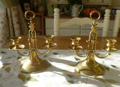 A Gorgeous Matching Pair of Vintage 1920's Brass Candleabra