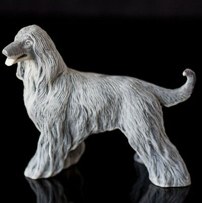 afghan hound marble animal miniature realistic dog figurine made in Russia